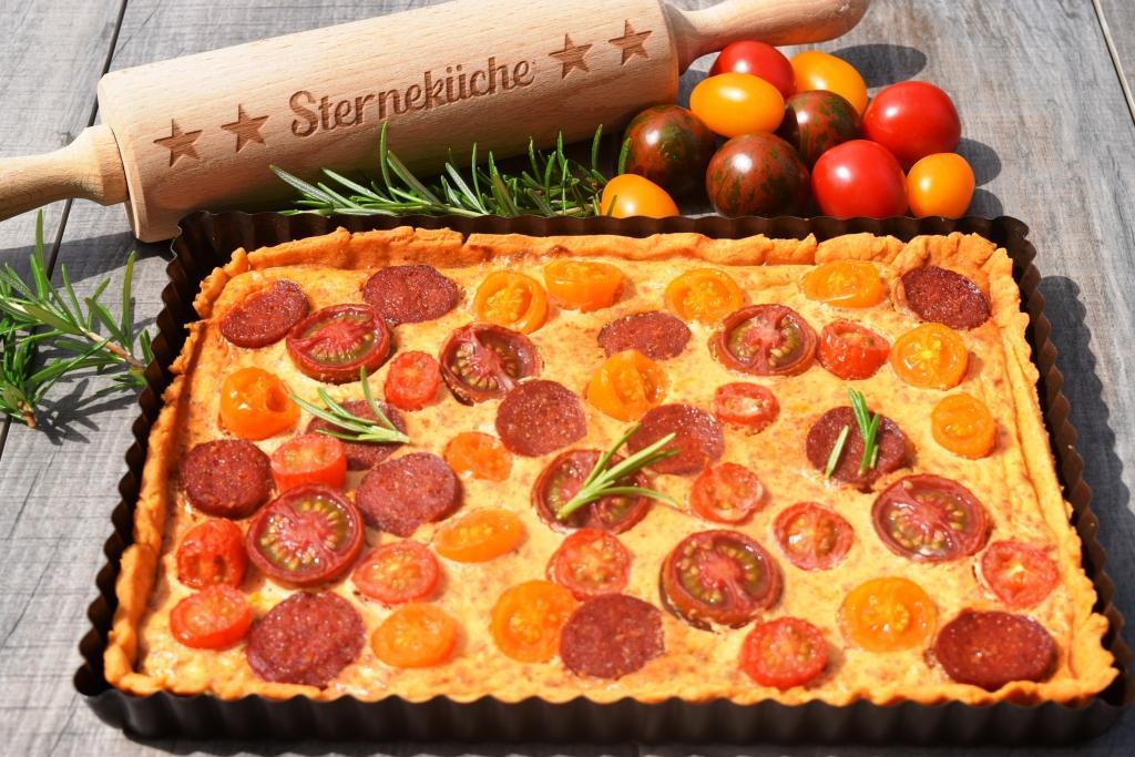 Tomaten-Quiche mit Chorizo Thermomix