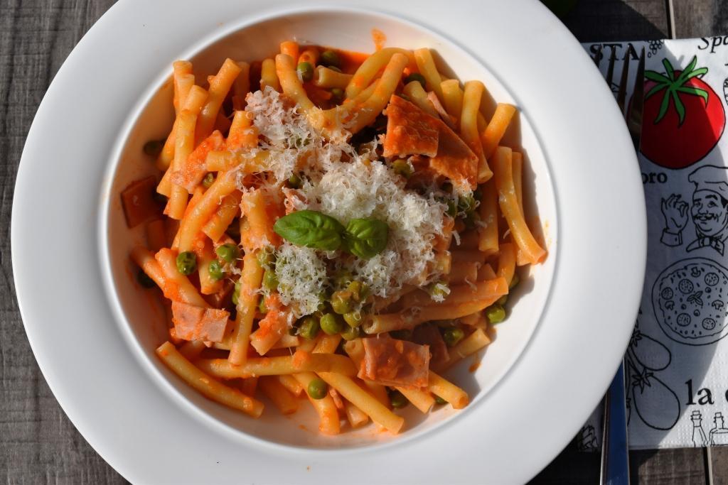 Makkaroni mit Erbsen und Schinkenschnelles Mittagessen aus meinem Thermomix
